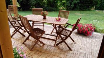 Soggiorno esterno a disposizione per il vostro relax o per un thè con noi, in ambiente salutare e tranquillo