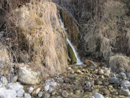 sorgente con incrostazione travertinosa lungo il Veses